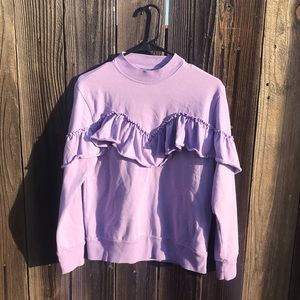 Topshop Jersey Ruffle Lilac / Lavender Sweater